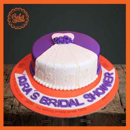 bridal shower purple theme cake