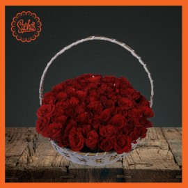Red Rose Flower Basket