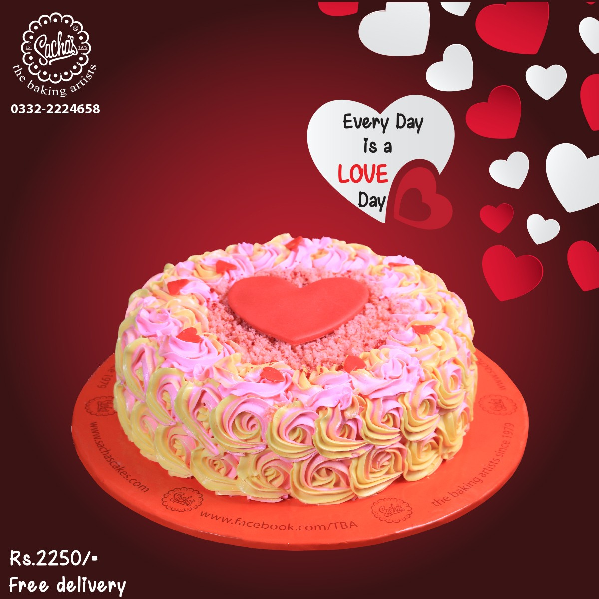 Two Color Rosette with a Heart | Delivery all Over Karachi