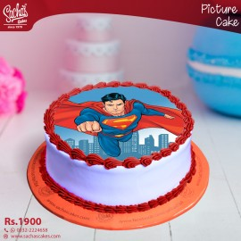 Super Man Flying Digital Picture Cake