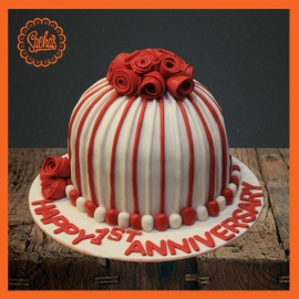 Anniversary Cake  Red Rose