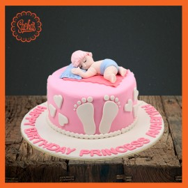 Baby Shower Pink Theme Fondant Cake