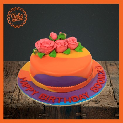 Colorful Cake with Pick Roses