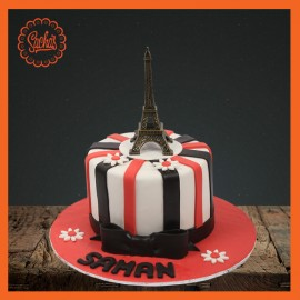 Eiffel Tower theme Fondant Cake