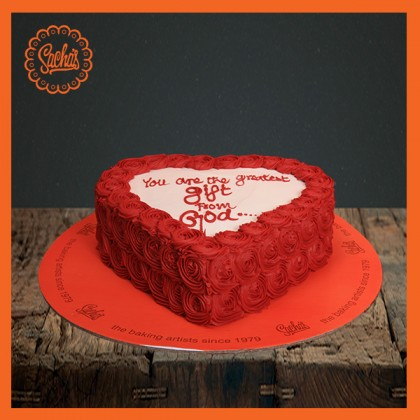Heart Red Flowers Cake