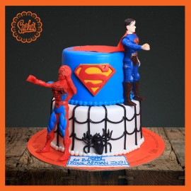 Spider / Super Man Fondant Cake