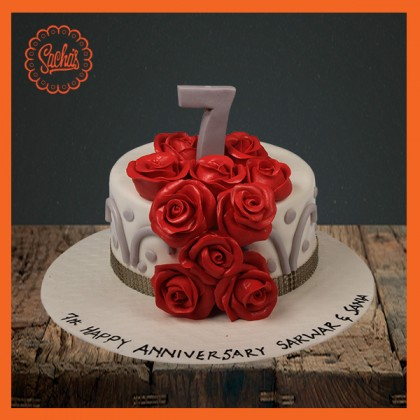 7th Anniversary Fondant Cake Delivery All Over Karachi