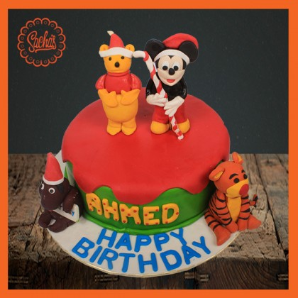 Pooh & Mickey Mouse Theme Cake