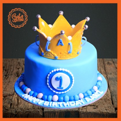 Awe Inspiring 1St Birthday Crown Cake Delivery All Over Karachi Personalised Birthday Cards Arneslily Jamesorg
