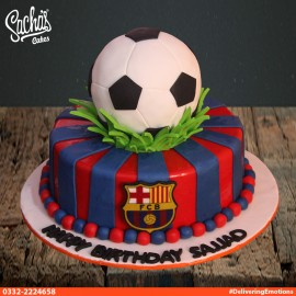FCB Barcelona Theme Football Cake