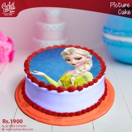 Elsa Yellow Dress Digital Picture Cake