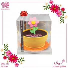 Shukriya Maa Flower Pot Theme Cake in Aclyric Box