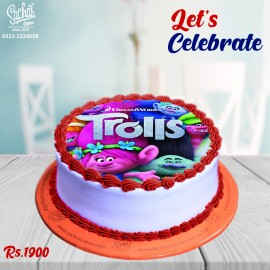 Poppy Trolls  Digital Picture Cake