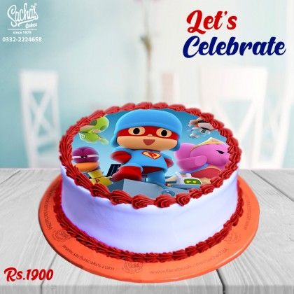Pocoyo Theme Digital Picture Cake