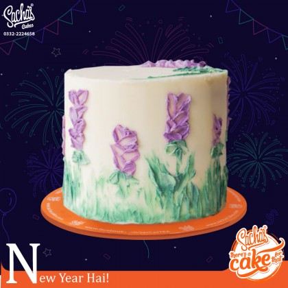 New Year Palette Knife Flowers  Cake