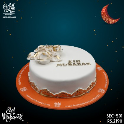 White and Golden Eid Day Cake