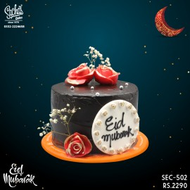Black Red Baby's Breath Eid Mubarak Eid Cake