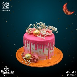 Pink Dripping Baby's Breath Ferrero Eid Cake