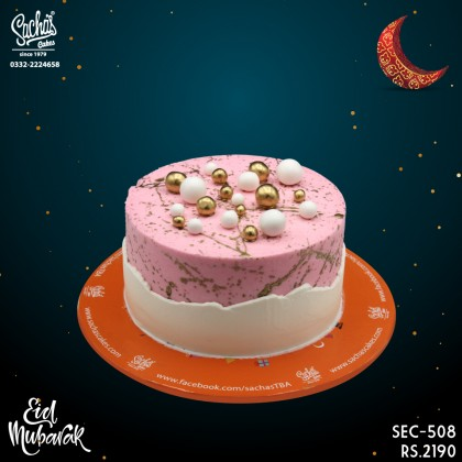 Pink and White with Golden Balls Eid Cake